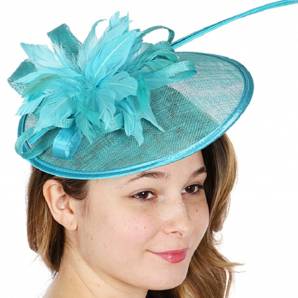 062d6cda923c5 Sinamay flower feather fascinator